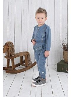 Nila Kids Gri-Mavi Rengi Erkek Bebek Askılı Organik Pantolon NK04002GM (6 AY- 3 YAş)